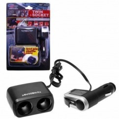 ADAPTADOR CAR FIRE WF-97 2 enchufes con cable USB