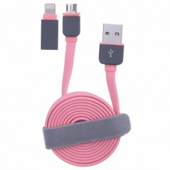 CABLE USB microUSB rosa+ad iPh.5 ⁈Q‱m PLANO