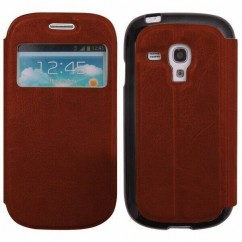 FUNDA SLIM VIEW SAMS.I8190 Galaxy S3 Mini marrón