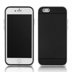 "BUMPER HYBRID HQ iPhone 6 4.7"" negro+blanco"