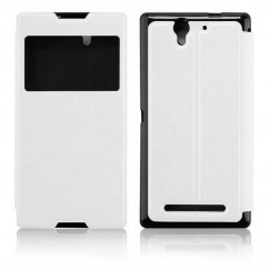 FUNDA SLIM VIEW SONY C3 blanca