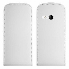 FUNDA VERTICAL  FLEXI HTC ONE (M8) Mini blanca
