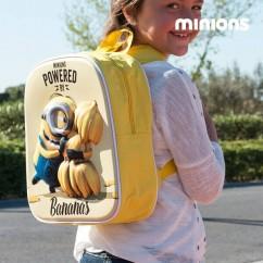 Mochila Escolar 3D Minion Bananas